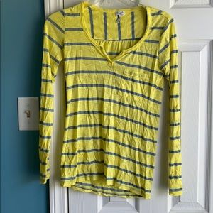 yellow and blue stripped long sleeve tee